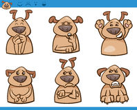 Dog emotions cartoon illustration set Royalty Free Stock Images