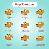 Dog emotions: happy, anger, love and other Stock Image