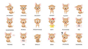 Dog emotions set. Funny cartoon emoji. Smiling and angry, sad and delight dog stock illustration