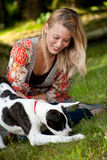The dog en his owner royalty free stock images