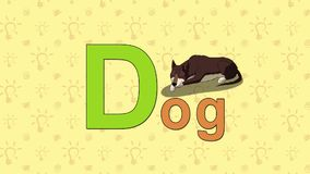 Dog. English ZOO Alphabet - letter D stock video footage