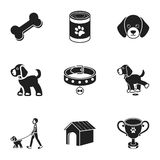 Dog equipment set icons in black style. Big collection dog equipment vector symbol stock illustration Stock Images
