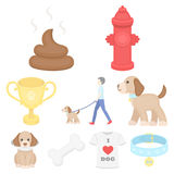Dog equipment set icons in cartoon style. Big collection dog equipment vector symbol stock illustration Stock Photography