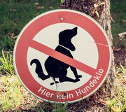 Dog excrement to ban. No dog poop zone sign Stock Photo