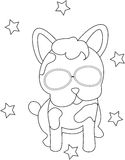 Dog with eyeglasses coloring page Stock Images