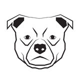 Dog face black and white drawing contour Royalty Free Stock Photo