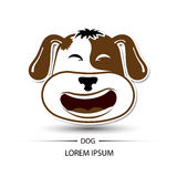 Dog face laugh logo and white background  Royalty Free Stock Image