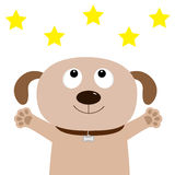 Dog face. Pet collection. Puppy pooch looking up to yellow star shape, paw print hug. Flat design. Cute cartoon funny character. W. Hite background. Isolated Stock Photo
