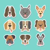 Dog face with tongue outside sticker collection. Cute sticker collection with different dog breeds in cartoon style. Vector illustration Royalty Free Illustration