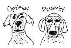 Dog faces emotions optimism pessimism. Color vector illustration. EPS8 Royalty Free Stock Images