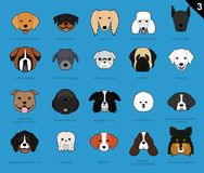 Dog Faces Stroke Cartoon Set 3 Royalty Free Stock Images