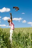 Dog falling from the sky in to girl`s arms. Little girl playing with her lovely small toy-terrier dog in wheat field. Summertime multicolored outdoors vertical Stock Images