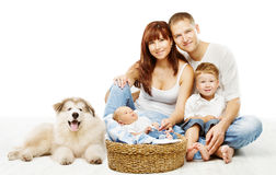 Dog and Family, Children Father Mother Pet, White. Dog and Family over White, Children Father Mother and Fluffy Pet Stock Photos