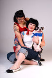 dog fashion girls retro Στοκ εικόνες με δικαίωμα ελεύθερης χρήσης