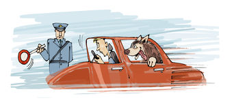 Dog in fast car. Humor illustration of dog and owner in fast car stop by policeman Royalty Free Stock Photos