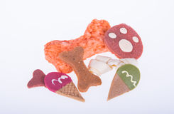 Dog favourite food with bone  and stick shapes.  Royalty Free Stock Photography