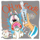 Dog Fear syringe Doctor. To presented Veterinary or Vet cartoon illutration column design presnted by Bull Terrier royalty free illustration