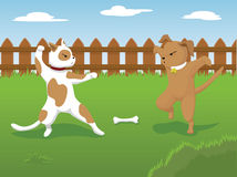 Dog Fight. Vector illustration of two dogs fighting over a bone in the backyard Royalty Free Stock Images