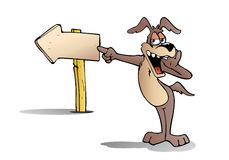 Dog find direction. Illustration of a cute Brown Puppy Dog standing  in front of a Signpost on outdoor Royalty Free Stock Image