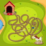 Dog finding way home game. Illustration Royalty Free Stock Image