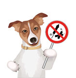 Dog with firework rockets prohibition sign. Vector illustration  on white background Stock Photography