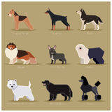Dog flat icons set Stock Photo