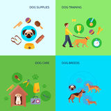 Dog  4 flat icons square banner Royalty Free Stock Photography