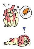 Dog flea extermination. A dog getting flea extermination royalty free illustration