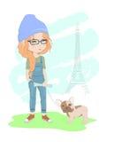 dog flickan stock illustrationer