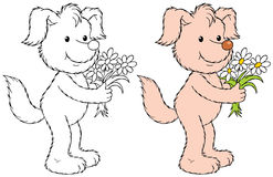 Dog with the flowers Royalty Free Stock Images
