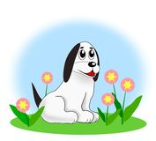 Dog and Flowers Stock Photography