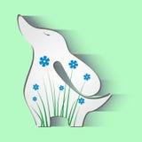Dog flowers animals illustration art silhouette. Bowwow cute small pattern nature wool beautiful Royalty Free Stock Image