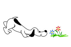 Dog And Flowers. Cartoon dog smelling flowers with nose close to the ground royalty free illustration