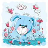Dog with flowers. Cute dog with flowers and butterflies on a meadow vector illustration