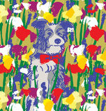 Dog in flowers happy animal nature. Royalty Free Stock Images