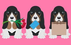 Dog with flowers tulips, envelope and paper bag. Paper art. stock illustration