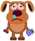 Dog flu. Illustration of a sad dog with a flu Stock Photos