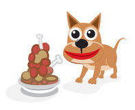 Dog with food Stock Image