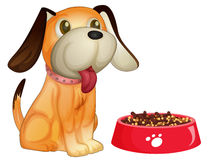 Dog and food. Illustration  of a dog sitting next to his bowl Stock Photos
