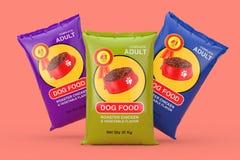 Dog Food Bag Packages Design. 3d Rendering. Dog Food Bag Packages Design on a pink background. 3d Rendering royalty free illustration