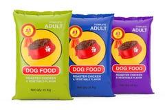 Dog Food Bag Packages Design. 3d Rendering. Dog Food Bag Packages Design on a white background. 3d Rendering vector illustration