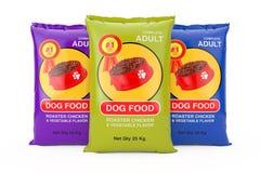 Dog Food Bag Packages Design. 3d Rendering. Dog Food Bag Packages Design on a white background. 3d Rendering stock illustration