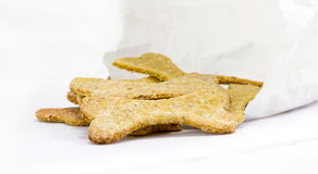 Dog food biscuit with paper bag Stock Photos
