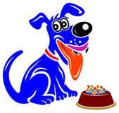 Dog and food bowl. Isolated line art cartoon image royalty free illustration