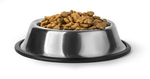 Dog food in bowl, isolated Royalty Free Stock Image