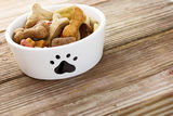 Dog food in bowl Stock Images