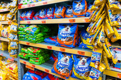 Dog food. Department in Hornbach supermarket store, Romania stock images