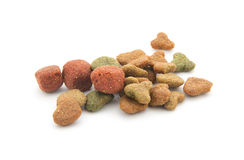 Dog food. Dry dog food isolated on white background Stock Image