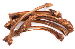 Dog food, dry rib. On white background Royalty Free Stock Photos