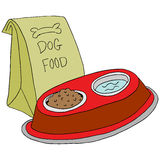 Dog food feeding station Stock Photo